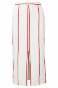 Bassike - Striped Cotton Midi Skirt - Cream