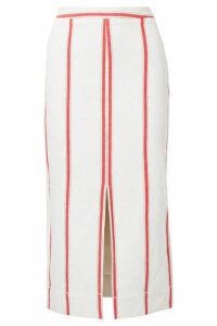 Bassike - Striped Cotton Midi Skirt - Cream