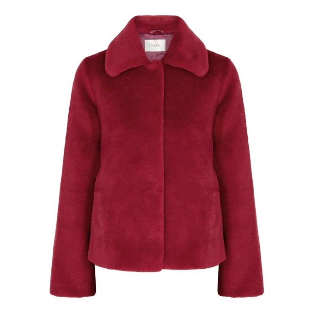 Stine Goya Gira Dark Red Faux Fur Jacket