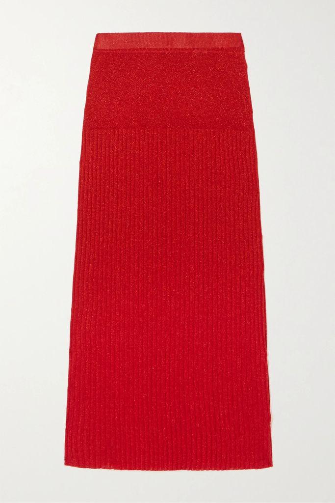 Ulla Johnson - Auveline Floral-print Cotton And Silk-blend Midi Skirt - Blue