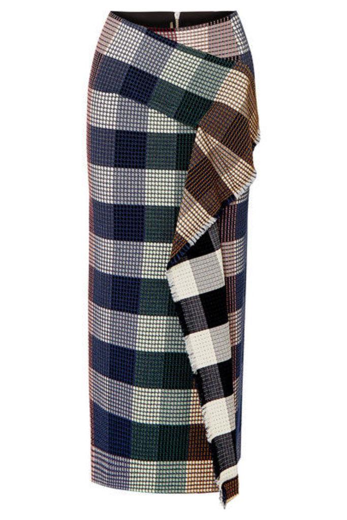 Roland Mouret - Lowit Draped Checked Cotton-blend Bouclé Skirt - Black