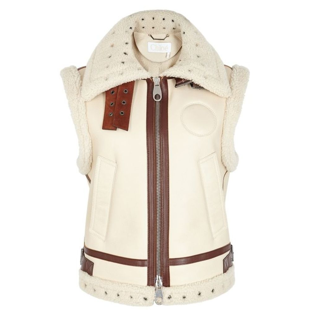 Chloé Cream Shearling-trimmed Leather Gilet