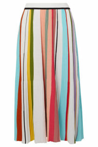 Missoni - Striped Ribbed Crocheted Cotton Midi Skirt - Pink