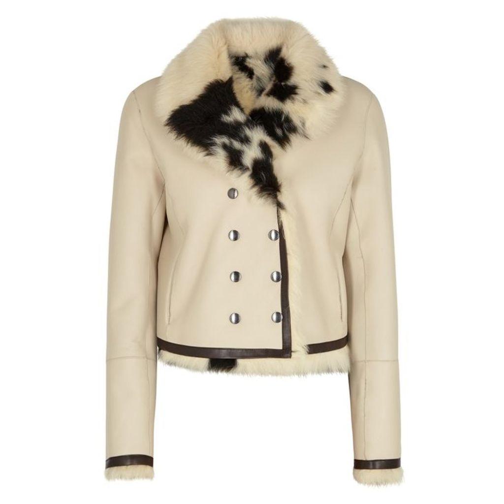 Chloé Cream Reversible Fur-trimmed Leather Jacket