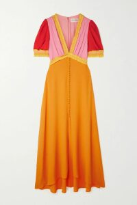 Stine Goya - Reflection Polka-dot Satin Midi Wrap Dress - Yellow