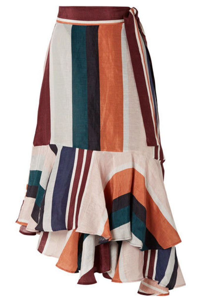 APIECE APART - Rosita Striped Linen And Silk-blend Wrap Skirt - Orange