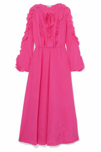 REDValentino - Ruffled Silk Crepe De Chine Midi Dress - Pink