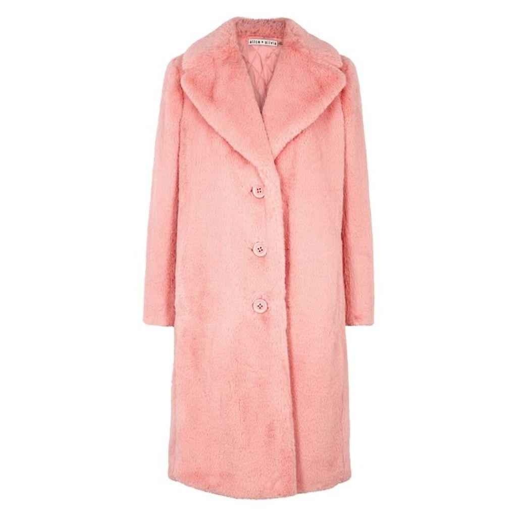 Alice + Olivia Foster Pink Faux Fur Coat