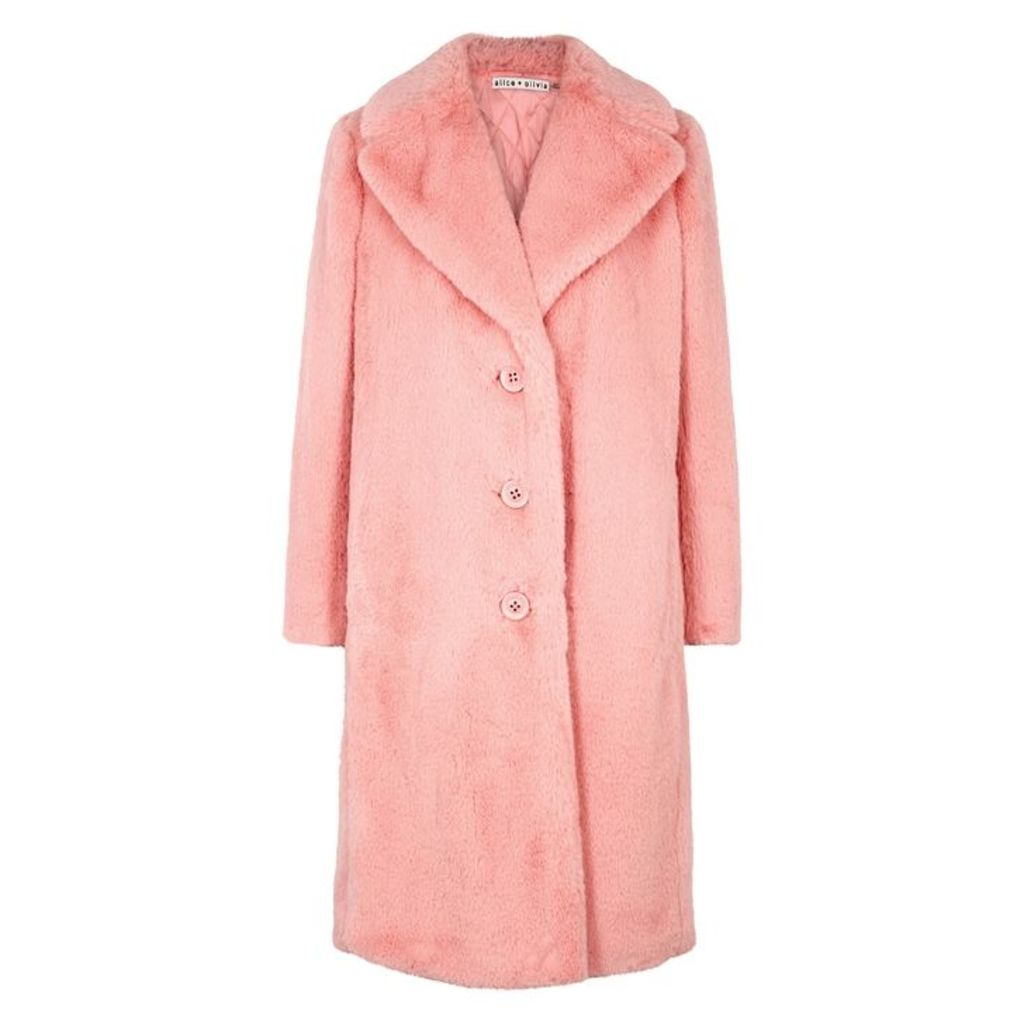 Alice + Olivia Foster Pink Faux Fur Coat