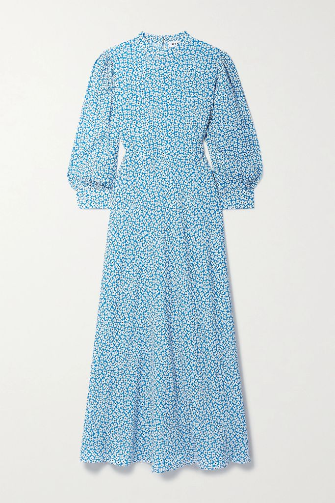 Roksanda - Bow-detailed Pleated Silk-blend Satin And Velvet Midi Dress - Purple