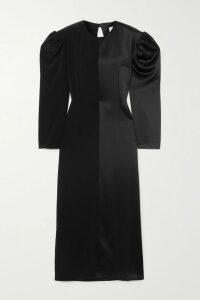 MATÉRIEL - Asymmetric Cutout Silk-satin Midi Dress - Fuchsia