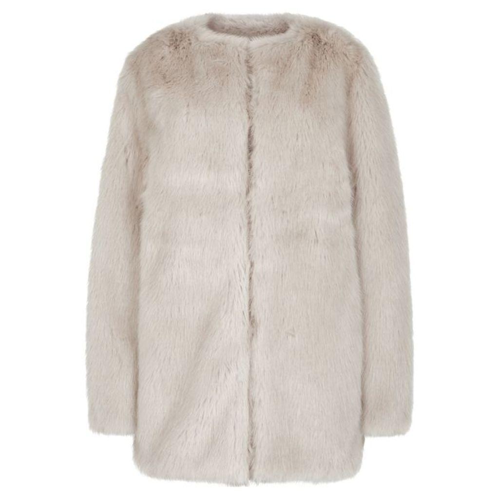 Helmut Lang Off-white Faux Fur Coat