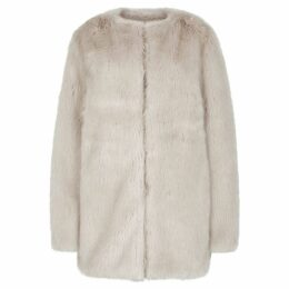 Helmut Lang Off-white Faux Fur Coat