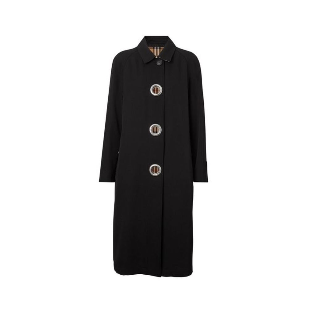 Burberry Grommet Detail Wool Gabardine Car Coat