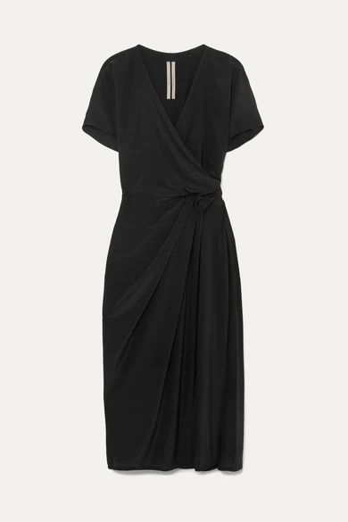 Rick Owens - Draped Silk Crepe De Chine Wrap Dress - Black