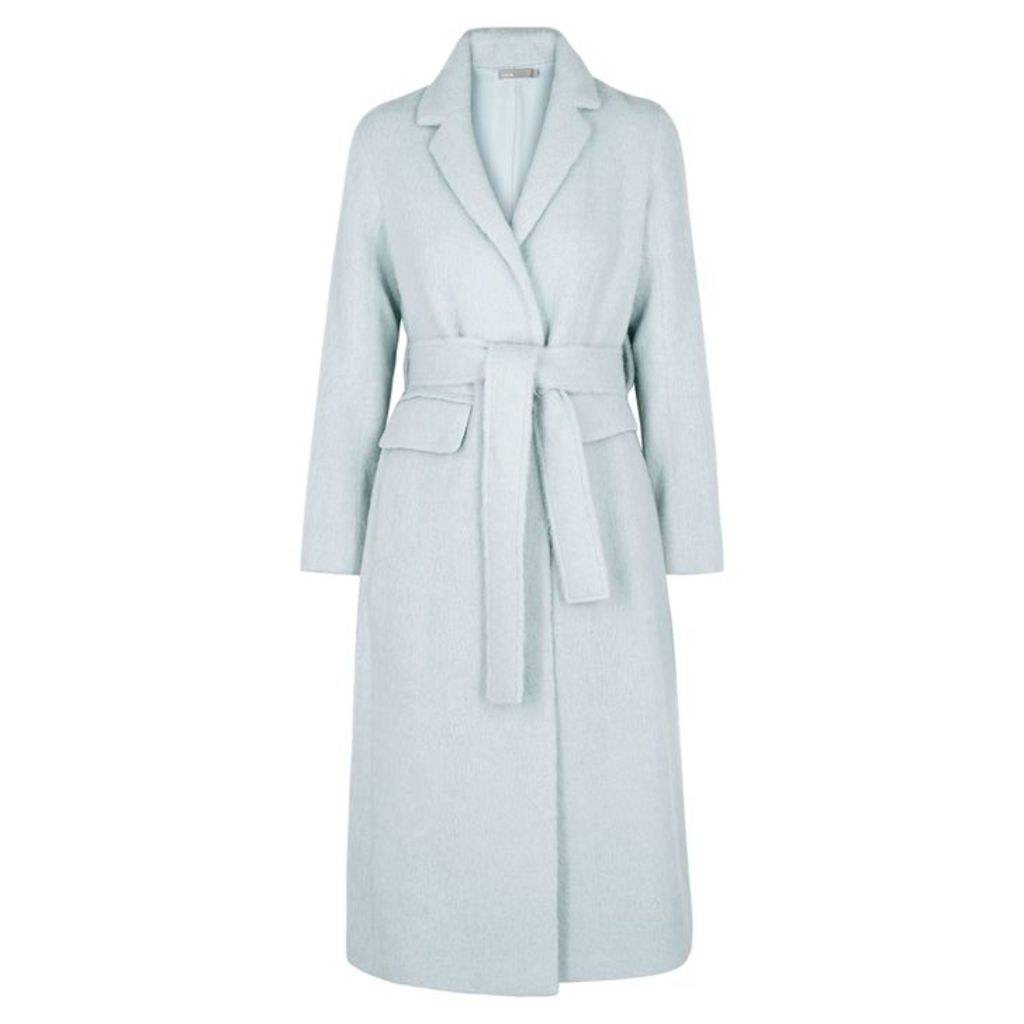 Vince Light Blue Textured Wool-blend Coat