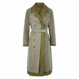 Sies Marjan Devin Green Cotton Trench Coat