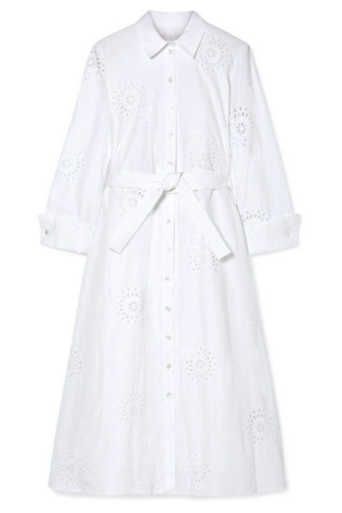 Carolina Herrera - Broderie Anglaise Cotton Midi Dress - White