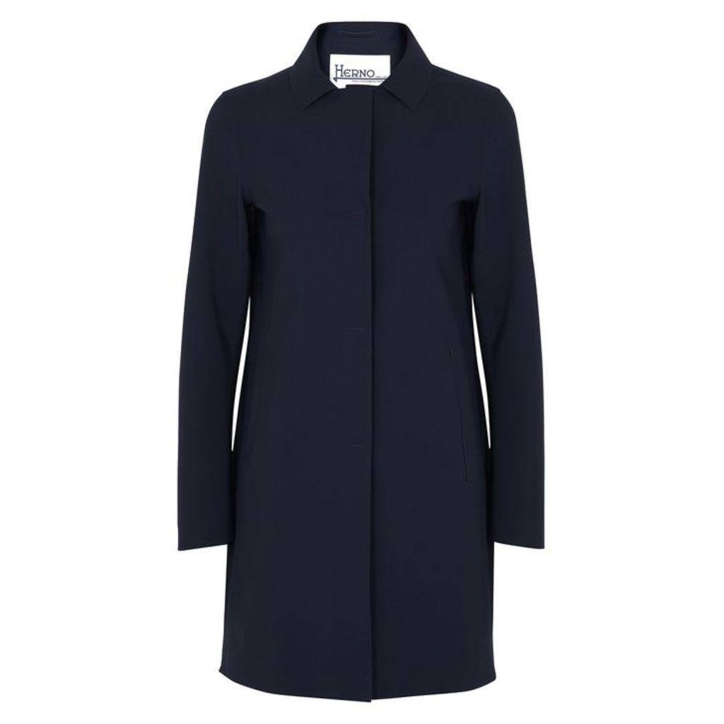 Herno Navy Stretch-neoprene Coat