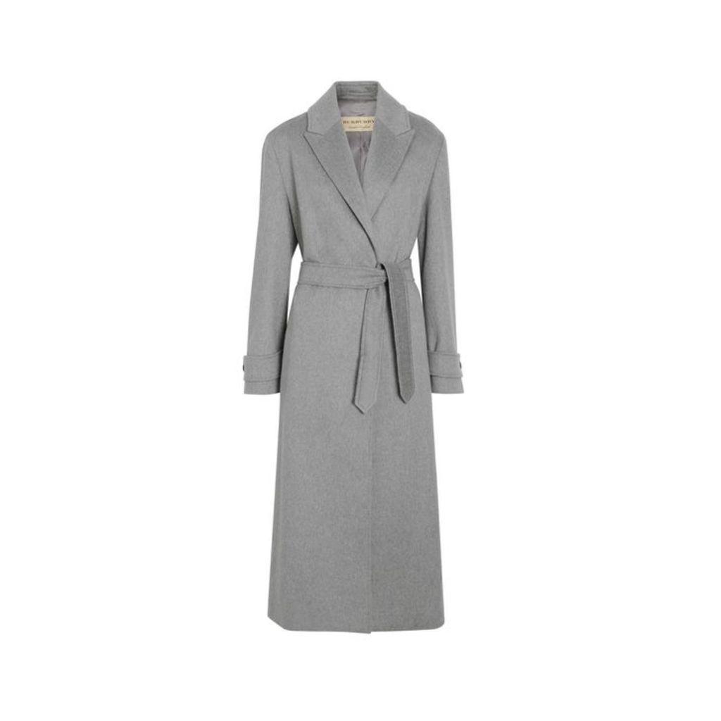 Burberry Peak Lapel Cashmere Wrap Coat