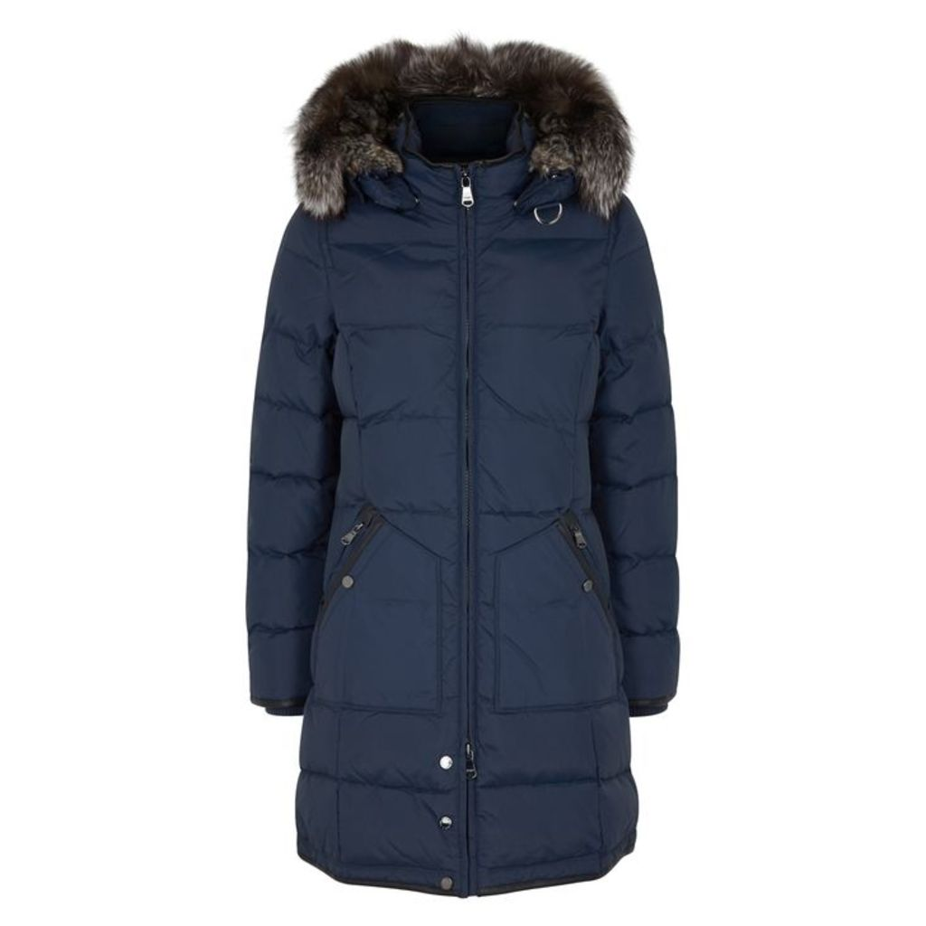 Pajar Panther Navy Fur-trimmed Shell Coat
