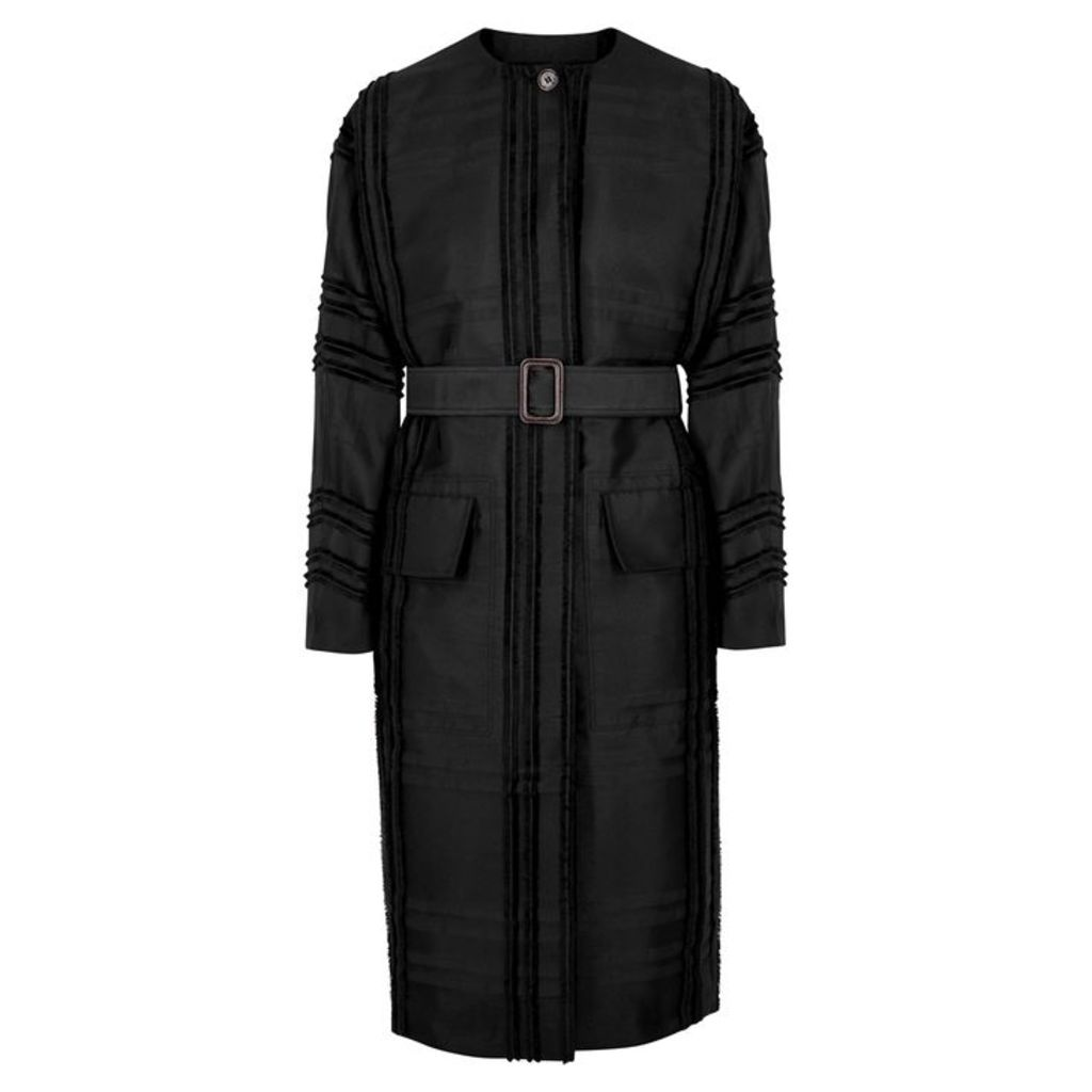 BY MALENE BIRGER Awillon Black Checked Twill Coat