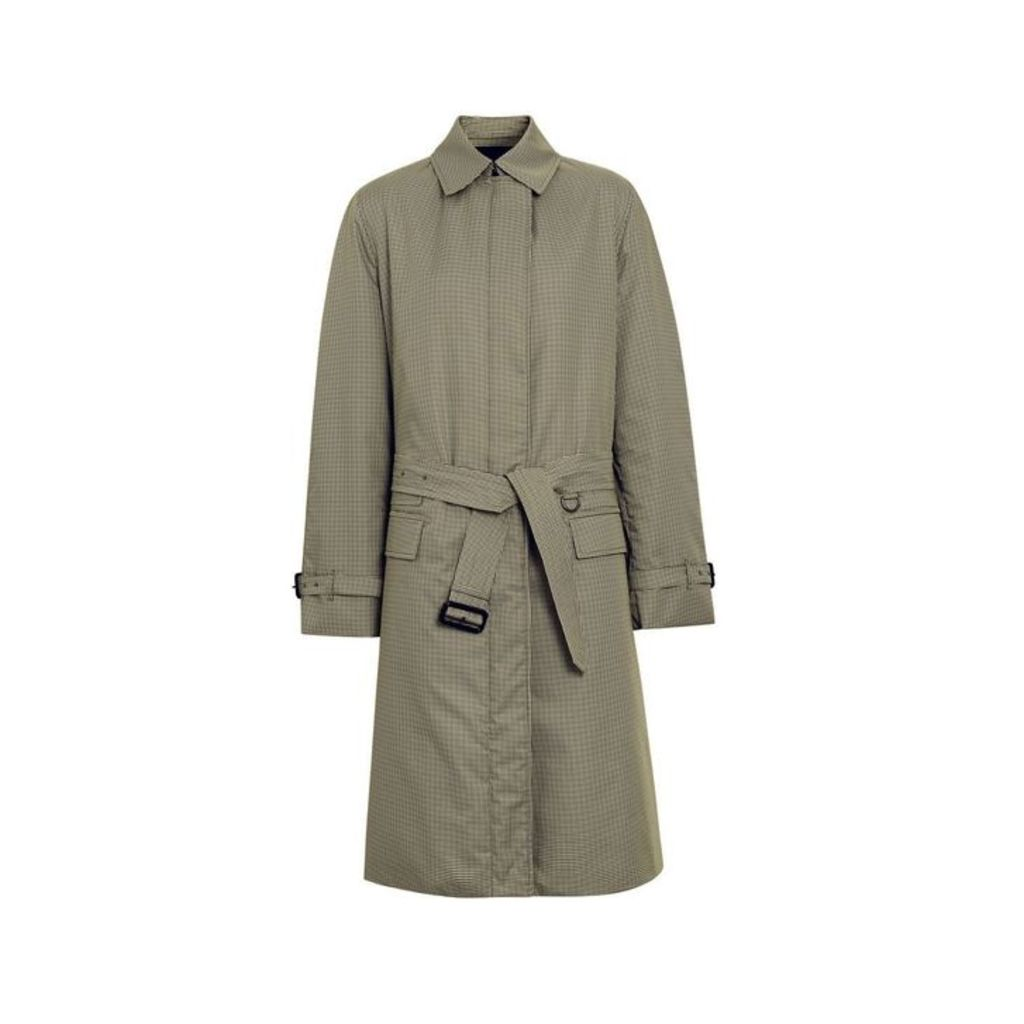 Burberry Puppytooth Check Belted Car Coat