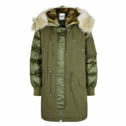 Yves Salomon Green Fur-trimmed Shell Parka