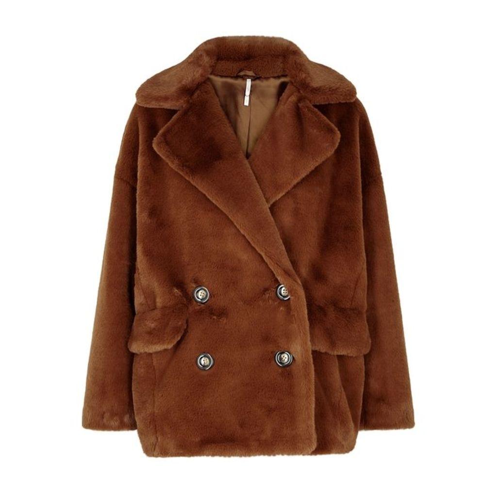 Free People Kate Brown Faux-fur Coat