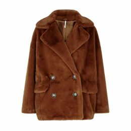 Free People Kate Brown Faux-fur Coat