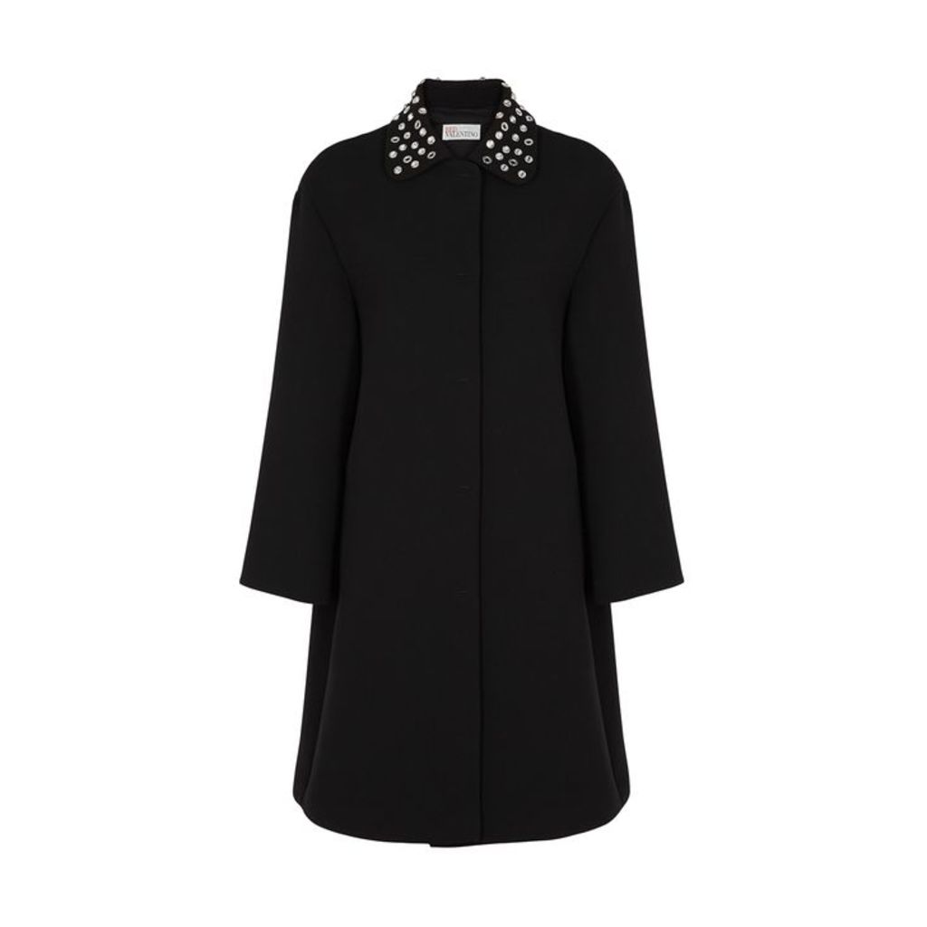 RED Valentino Black Embellished Cady Coat