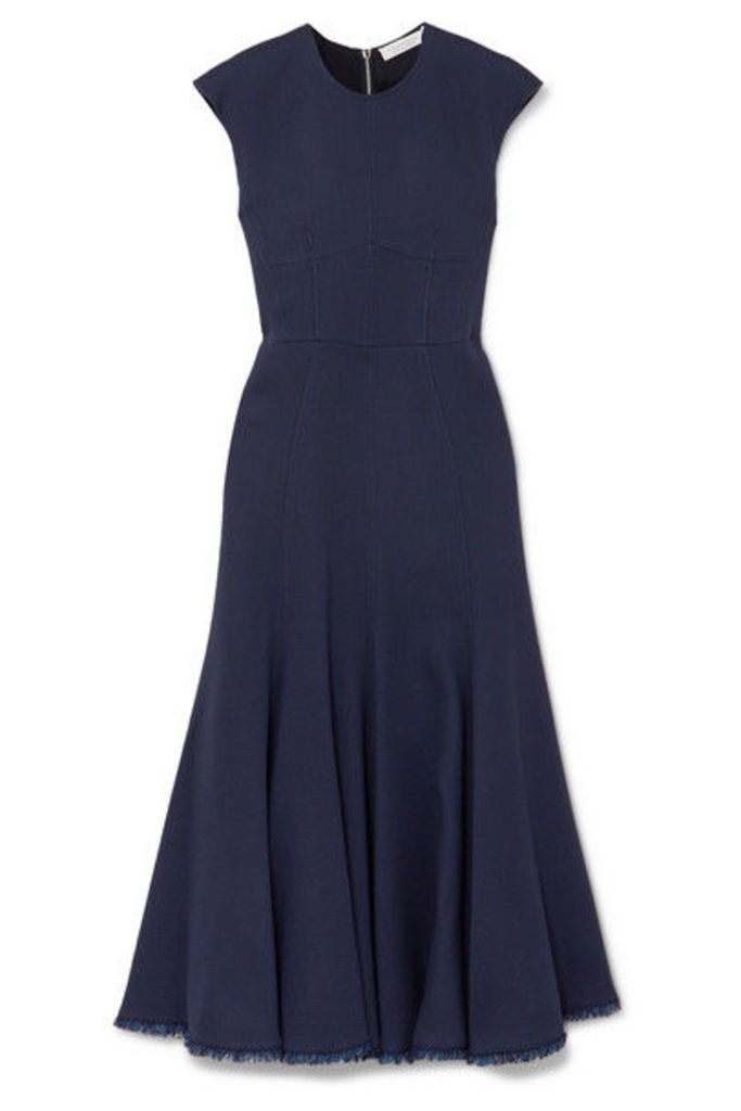 Gabriela Hearst - Crowther Frayed Crepe Midi Dress - Navy