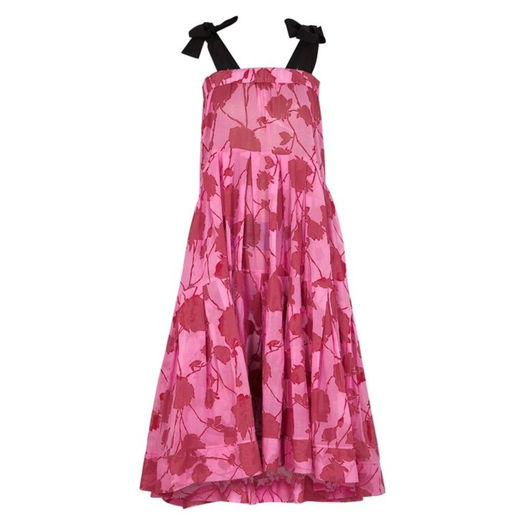 Lila. eugénie Pink Floral-print Voile Midi Dress