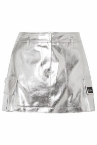 we11done - Appliquéd Metallic Faux Leather Mini Skirt - Silver