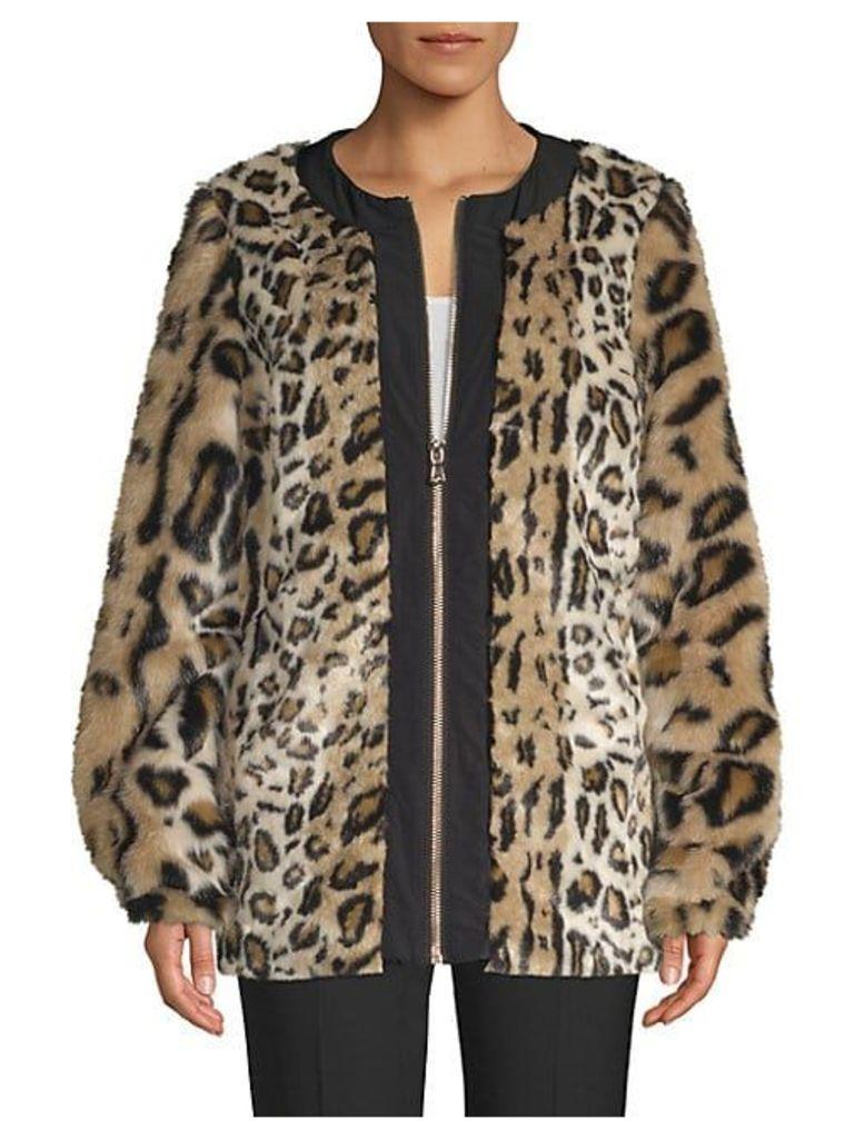 Faux Fur Leopard Print Zip Coat
