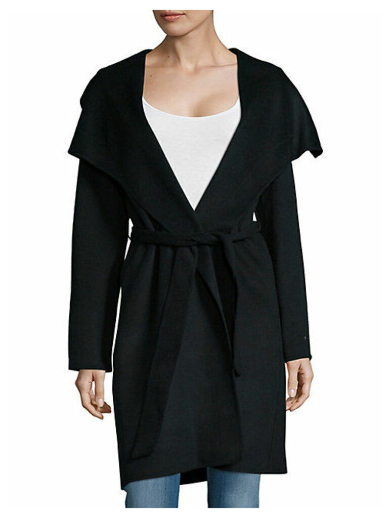 Solid Wool-Blend Wrap Coat