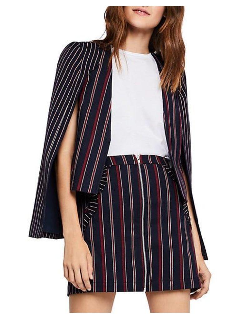 Striped Mixed Media Cape Jacket