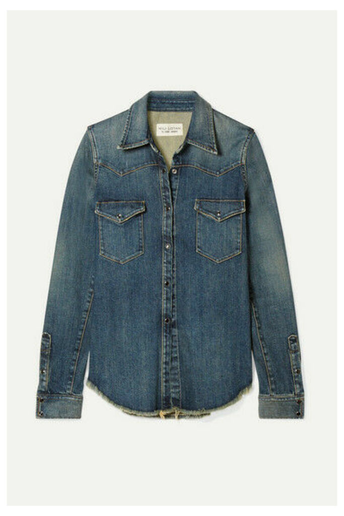 Nili Lotan - Travis Frayed Denim Shirt - Mid denim
