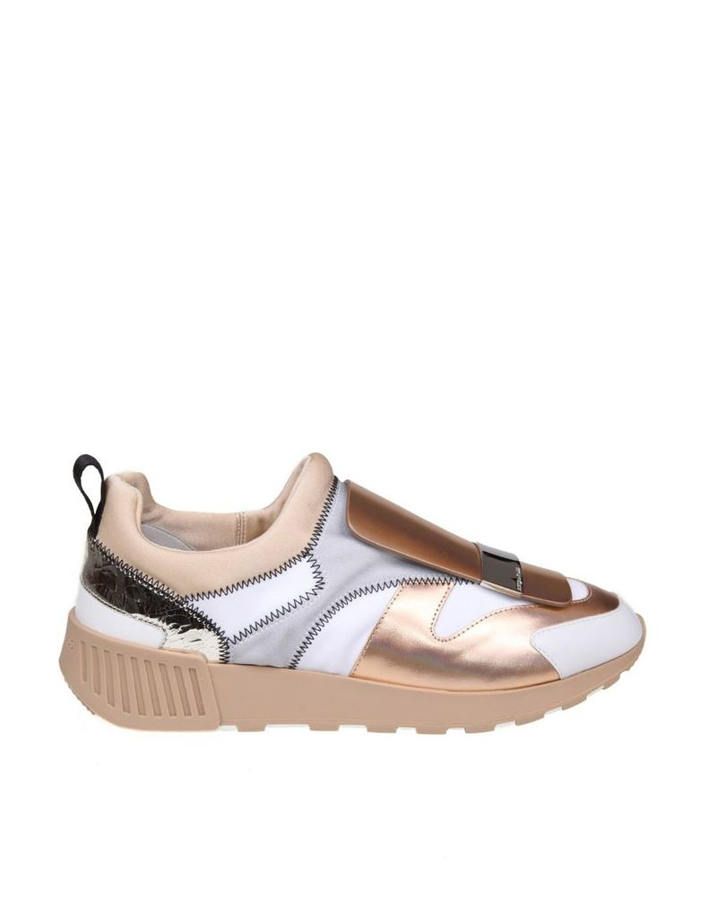 Sergio Rossi Sneakers Sr1 Leather And Fabric Color Copper And White