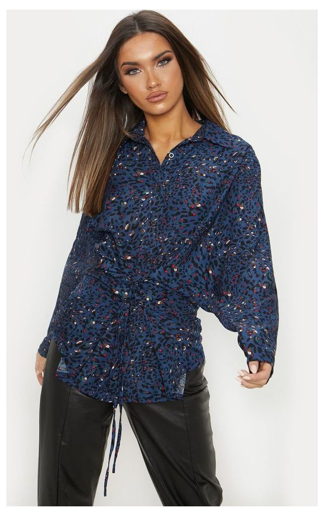 Navy Multi Leopard Corset Detail Oversized Shirt, Blue