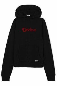 BLOUSE - Divine Appliquéd Cotton-jersey Hoodie - Black