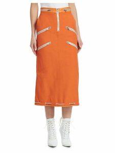 Panama Zippered Midi Skirt