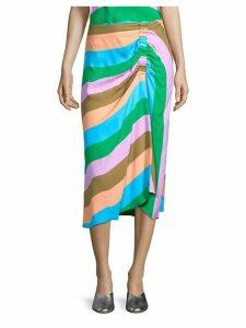 Stripe Shirred Skirt