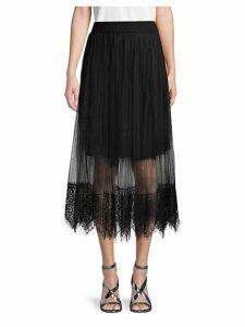 Mesh Overlay Midi Skirt