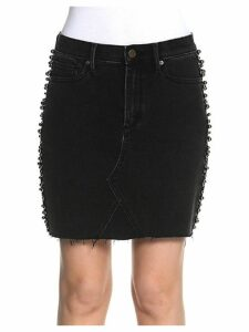 Stef Faux Pearl-Embellished Denim Skirt