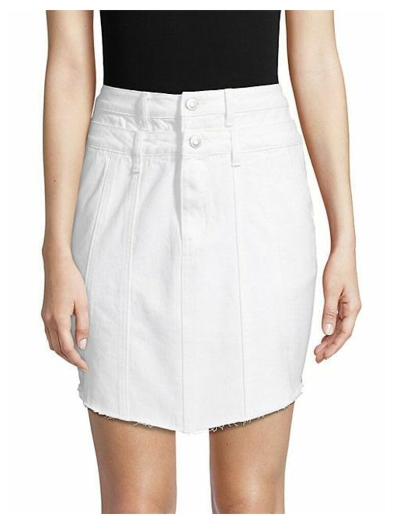 Double-Waistband Denim Skirt