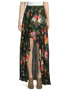 Kristie Cascade Floral High-Low Skirt