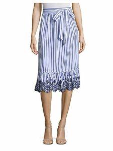 Stripe Eyelet Midi Skirt