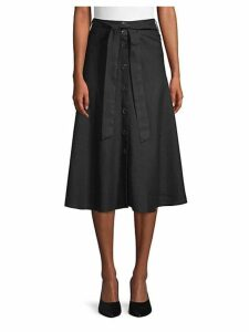 Button Front Linen Midi Skirt