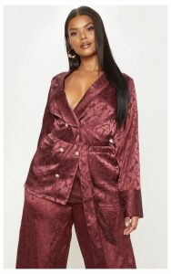 Plus Burgundy Satin Jacquard Long Line Blazer, Red